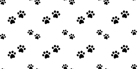 dog paw seamless pattern vector cat paw bulldog wallpaper isolated repeat background white Illustration