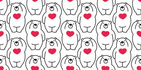 Bear seamless pattern polar bear vector panda isolated heart valentine wallpaper repeat background cartoon cute Illustration