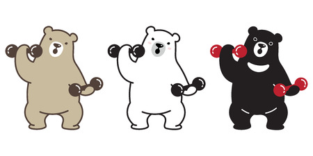 bear vector polar bear panda logo icon character cartoon weight training gym sport illustration doodle