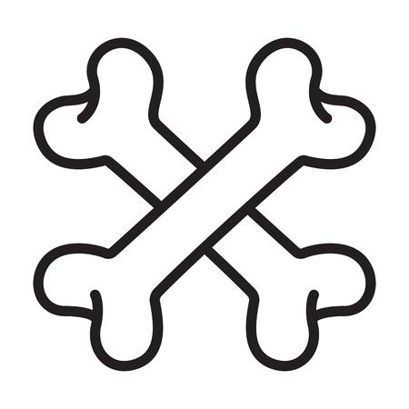 crossbones Skull pirate dog vector logo icon Halloween illustration doodle symbol Illustration