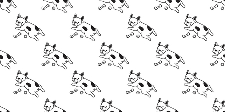 dog seamless pattern french bulldog vector pug dog bone isolated wallpaper tile background