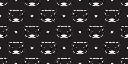 Bear seamless pattern polar bear vector panda heart valentine love isolated background repeat wallpaper black