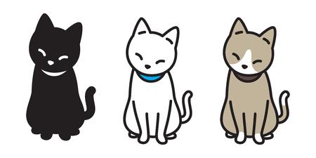 chat race vector illustration chaton calicot logo icône personnage de dessin animé Halloween doodle Logo