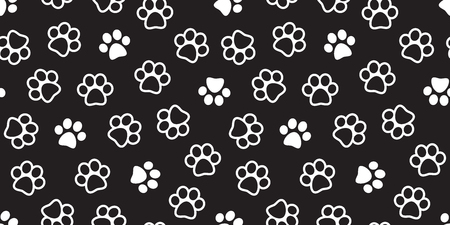 Dog Paw Seamless Pattern Cat Paw vector footprint kitten puppy wallpaper isolated tile background