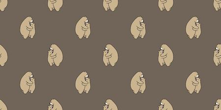 Bear seamless pattern polar bear vector isolated panda repeat background tile wallpaper illustration cartoon