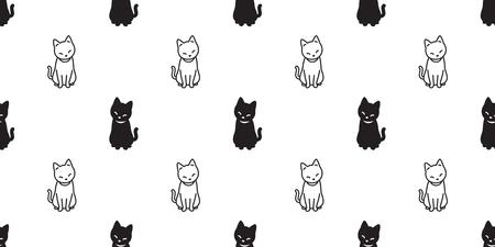 cat seamless Pattern vector kitten cartoon Halloween isolated tile background repeat wallpaper