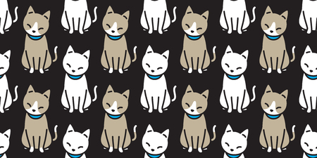 cat seamless pattern vector calico kitten Halloween isolated tile background repeat wallpaper doodle cartoon