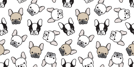 Dog seamless pattern french bulldog pug head vector wallpaper tile background repeat cartoon isolated
