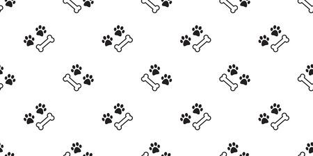 dog paw seamless pattern dog bone vector isolated bulldog background wallpaper