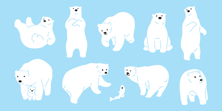 Bear vector polar Bear icon logo illustration character doodle white Logos