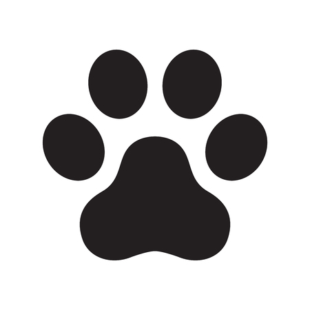 Dog paw vector footprint logo icon symbol graphic illustration cat french bulldog cartoon