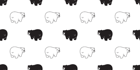 Bear seamless pattern vector polar bear cartoon tile background illustration wallpaper isolated