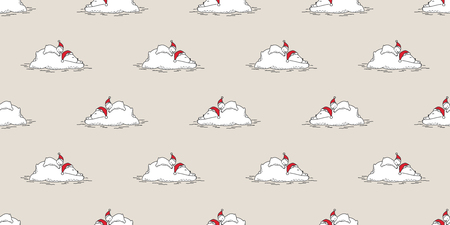 Bear seamless pattern Christmas vector polar bear sleep Santa Claus scarf isolated repeat wallpaper tile background cartoon character illustration Illustration
