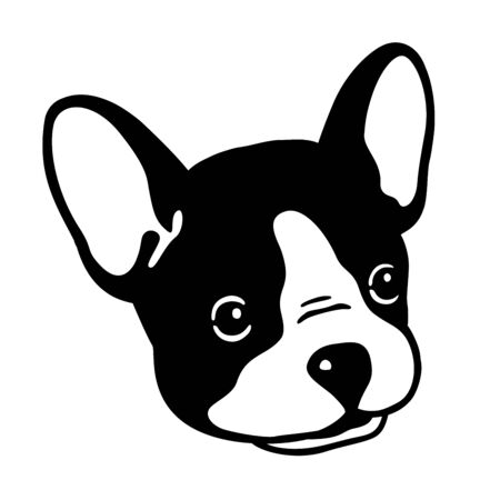 Dog vector french bulldog face icon head character illustration clip art graphic