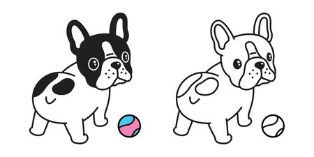 dog vector french bulldog  icon ball cartoon character illustration symbol black