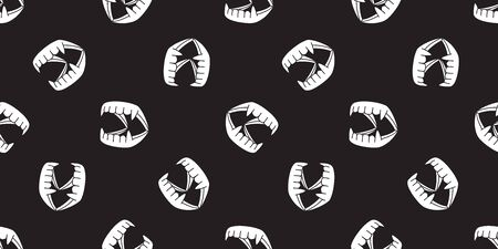 dracula teeth seamless pattern halloween vector ghost scarf isolated tile background repeat wallpaper black