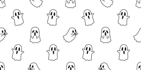 Halloween seamless pattern vector ghost cartoon illustration scarf isolated tile background repeat wallpaper