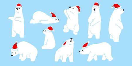 Bear vector Christmas polar bear Santa Claus icon hat cartoon character  teddy illustration doodle