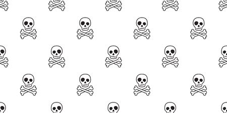 pirate skull seamless pattern vector Halloween Crossbones bone Ghost poison tile background scarf isolated repeat wallpaper Ilustrace