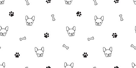 dog Seamless pattern french bulldog vector pug bone paw background wallpaper isolated