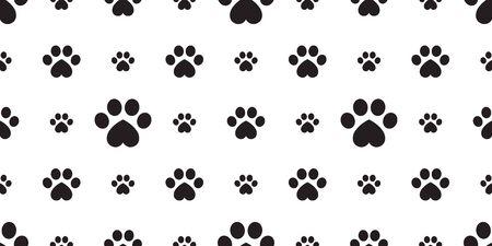 Dog Paw seamless pattern vector footprint heart valentine kitten puppy tile background repeat wallpaper isolated cartoon illustration