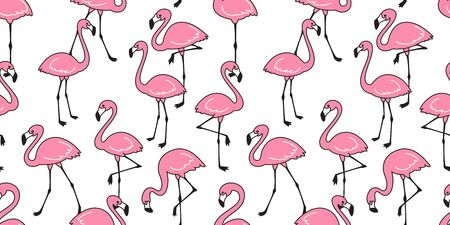 Flamingo seamless pattern vector pink Flamingos exotic bird tropical scarf isolated tile background repeat wallpaper cartoon illustration doodle  イラスト・ベクター素材