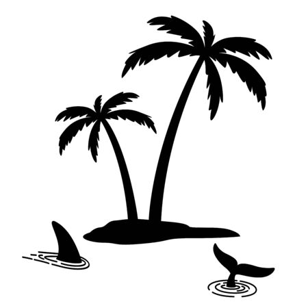 Shark fin vector icon island palm tree coconut dolphin character illustration symbol graphic