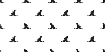 Shark seamless pattern fin vector dolphin tile background repeat wallpaper scarf isolated illustration Vectores