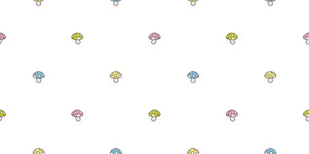 mushroom seamless pattern vector scarf isolated background wallpaper cartoon doodle