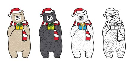 Bear vector polar Bear Christmas santa hat gift scarf cartoon illustration