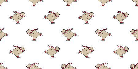 bear seamless pattern polar bear vector Christmas ice skate ski snow winter panda teddy scarf cartoon isolated tile background repeat wallpaper illustration brown
