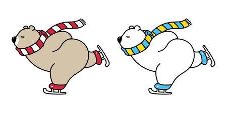 bear vector polar bear icon ice skate ski Christmas cartoon character illustration Illusztráció