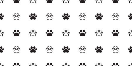 Dog Paw seamless pattern vector footprint cat puppy tile background repeat wallpaper scarf isolated cartoon illustration Stock Illustratie