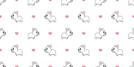 Dog seamless pattern french bulldog vector heart valentine repeat background isolated wallpaper Stock Illustratie