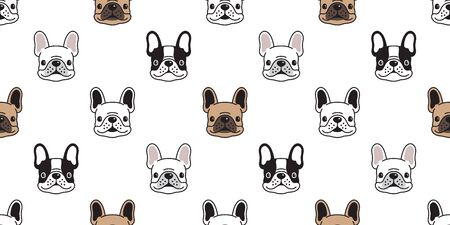 Dog seamless pattern vector french bulldog tile background scarf isolated repeat wallpaper illustration cartoon