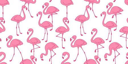 Flamingo seamless pattern vector pink Flamingos exotic bird tropical scarf isolated tile background repeat wallpaper cartoon illustration  イラスト・ベクター素材