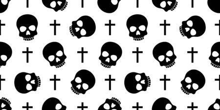 skull Crossbones seamless pattern Halloween vector pirate bone poison Ghost christ cross scarf isolated repeat wallpaper tile background