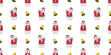 Bear seamless pattern vector polar bear Christmas Santa claus Hat teddy cartoon isolated tile background wallpaper character illustration