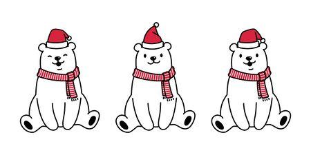 bear vector polar bear Christmas Santa Claus Xmas hat scarf character cartoon icon illustration white Illustration