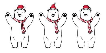 bear vector polar bear Christmas Santa Claus Xmas scarf cartoon character icon illustration white Illustration