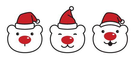 bear vector polar bear Christmas vector Santa Claus Xmas cartoon character icon red nose illustration Illustration