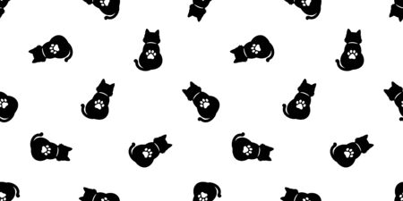 cat Seamless pattern vector paw halloween kitten calico cartoon scarf isolated tile background repeat wallpaper Stockfoto - 129295688