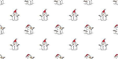 Christmas seamless pattern Snowman vector Santa Claus cartoon isolated tile background wallpaper illustration