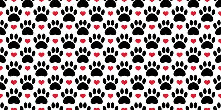 Dog Paw seamless pattern vector footprint heart valentine bear cat puppy scarf isolated tile background repeat wallpaper cartoon illustration