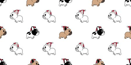 Dog seamless pattern Christmas vector french bulldog Santa Claus Xmas hat scarf bone cartoon illustration isolated tile background repeat wallpaper