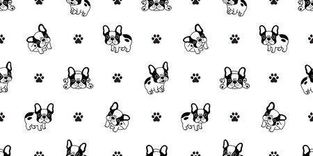 Dog seamless pattern french bulldog paw vector repeat background tile cartoon wallpaper isolated black Stockfoto - 129295926