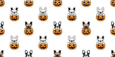 Dog seamless pattern french bulldog vector pumpkin Halloween isolated repeat wallpaper tile background Stockfoto - 129295937