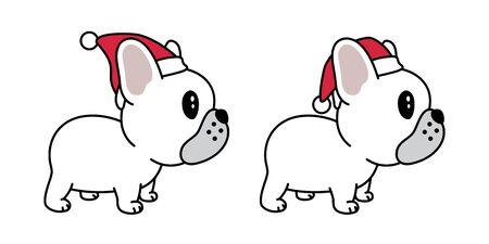 dog vector french bulldog Christmas Santa Claus Xmas hat scarf cartoon character icon illustration white