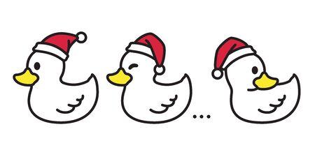 duck vector Christmas vector Santa claus Xmas icon cartoon character illustration white Stockfoto - 129295938