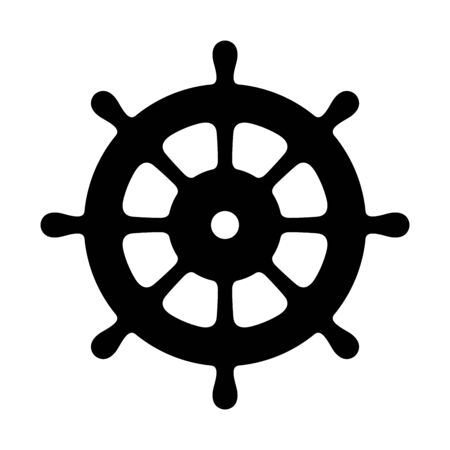 Helm vector icon Anchor boat Nautical maritime pirate sea ocean illustration Stock Illustratie